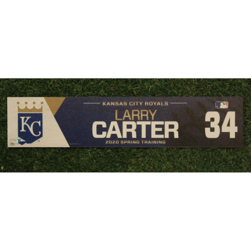 Photo of Game-Used Spring Training Locker Tag: Larry Carter #34