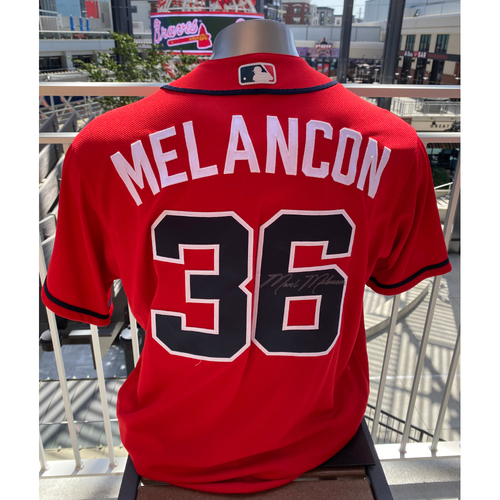 Photo of Mark Melancon MLB Authenticated Autographed Game Used Los Bravos Jersey (Size 48) - Used 9/6/2019 vs. WAS
