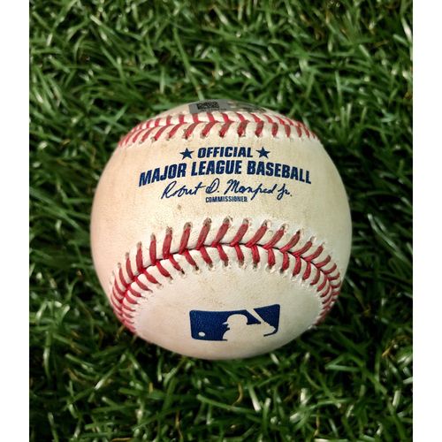 Photo of Game Used Baseball: Anthony Banda (2.0IP, 1 SO) strikes out Travis Shaw - August 24, 2020 v TOR