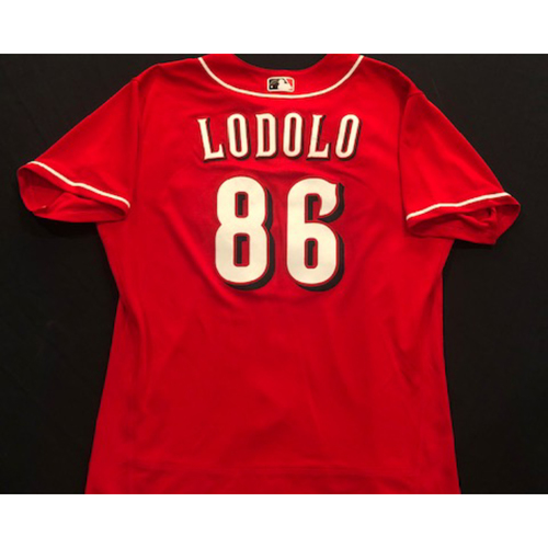Photo of Nick Lodolo -- 2020 Spring Training Jersey -- Team-Issued -- Size 46
