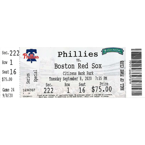 Photo of September 8, 2020 Ticket(Game 2): Phillies vs. Red Sox