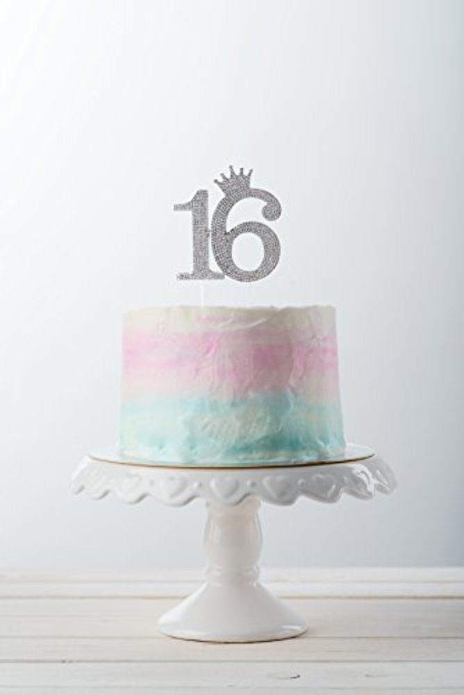 Photo of Number 16 Rhinestone Princess Crown Monogram Cake Topper - Sweet 16th Birthday Party (Silver)