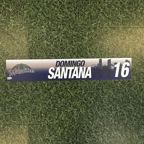 Photo of Domingo Santana 2017 Game-Used Locker Nameplate