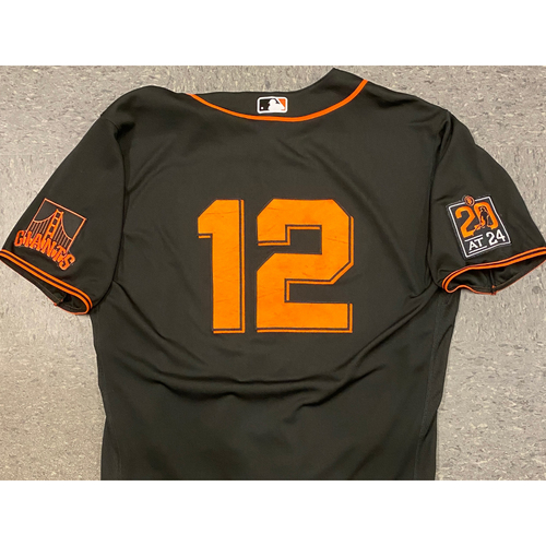 Photo of 2020 Game Used Black Home Alt Jersey worn by #12 Alex Dickerson on 8/1 vs. TEX (0-1, R, BB) & 9/26 vs. SD (1-3) - Size 48