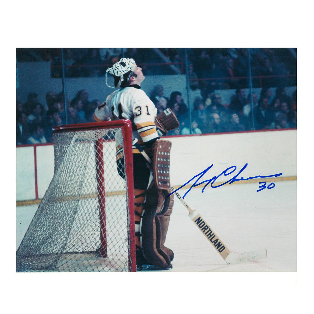 GERRY CHEEVERS Signed Vintage Boston Bruins 8 X 10 Photo - 70312