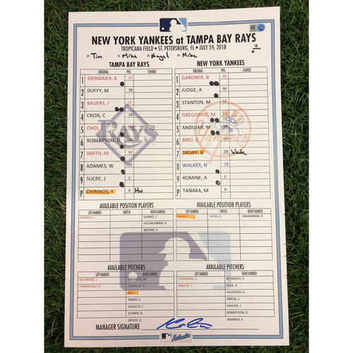Photo of 2018 Game Used Line Up Card: Tampa Bay Rays v New York Yankees - 7/24/18 - Masahiro Tanaka (W, CG, 0 ER, 0 R, 9 K's)