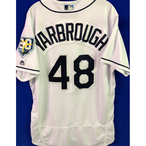 Photo of 20th Anniversary Game Used White Jersey: Ryan Yarbrough (W, 5.1 IP, 6 SO) - August 20, 2018 v KC