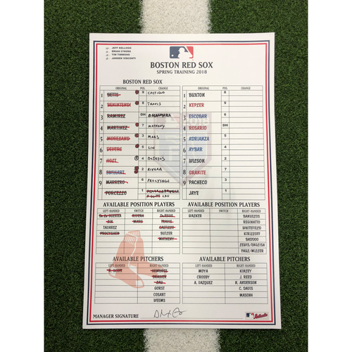 Photo of Red Sox Foundation - Spring Training Line-Up Card vs Twins - 3-16-18 - Not MLB Authenticated