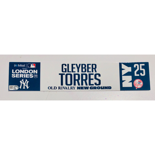 Photo of 2019 London Series - Game Used Locker Tag - Gleyber Torres, New York Yankees vs Boston Red Sox - 6/30/2019