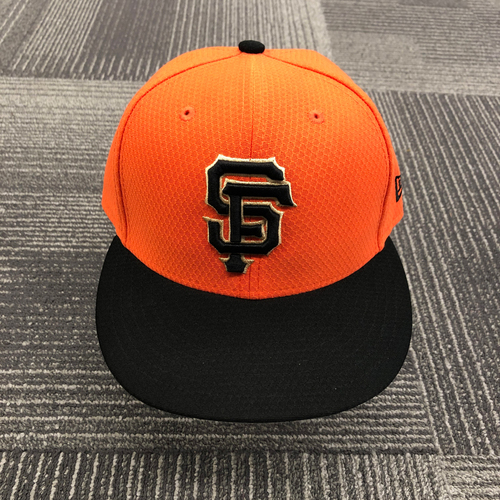Photo of 2019 Team Issued Orange Batting Practice Cap - #12 Joe Panik - size 7 1/4