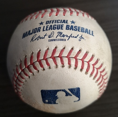 Photo of Authenticated Game Used Baseball: Ball by Ken Giles against Alex Bregman (Sep 1, 19 vs HOU). Top 9. Justin Verlander's 3rd Career No Hitter.