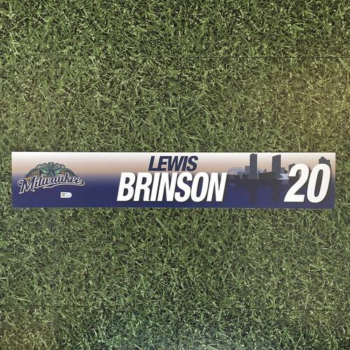 Photo of Lewis Brinson 2017 Team-Issued Locker Nameplate