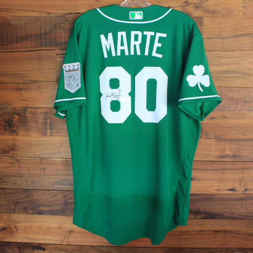 Photo of Autographed 2020 St. Patrick's Day Jersey: Yunior Marte #80 - Size 46