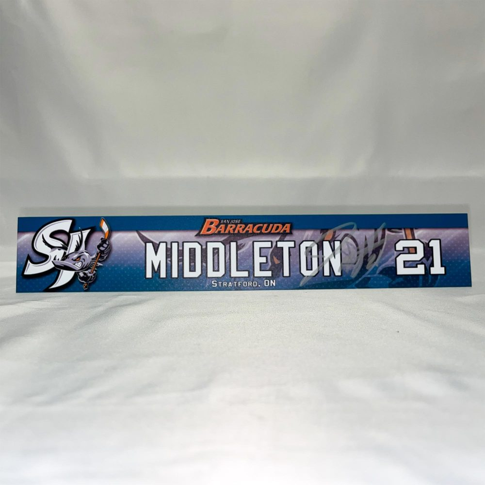 2020-21 San Jose Barracuda Locker Room Nameplate Signed by #21 Jacob Middleton