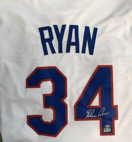 Photo of Nolan Ryan Autographed Cooperstown Collection Texas Rangers Jersey