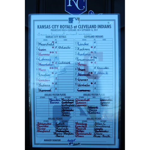 Game-Used Line-Up Card: Alex Gordon 158th Home Run (KC at CLE - 9/16/17)
