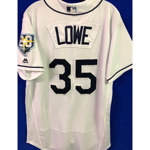 Photo of 20th Anniversary Game Used White Jersey: Brandon Lowe (2H, 2RBI) - August 21-22, 2018 v KC