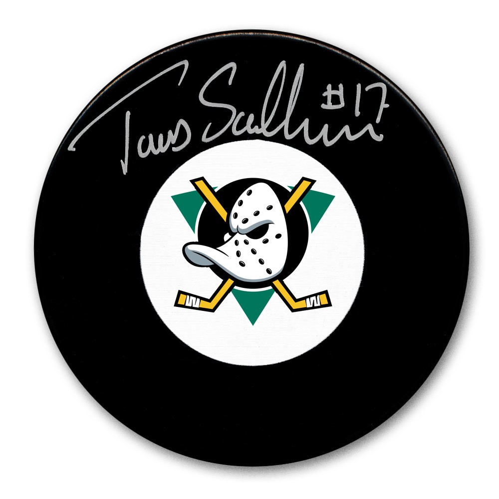 Tomas Sandstrom Anaheim Mighty Ducks Autographed Puck