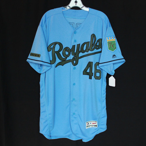 Photo of Game-Used Majestic Light Blue Memorial Day Commemorative Jersey: Ramon Torres (Size 46 - MIN @ KC - 5/28/18)