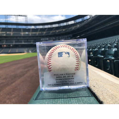 Photo of Game Used Baseball: Pitcher: Mike Dunn, Batter: Rhys Hoskins (Single)- 4-20-2019 vs. PHI