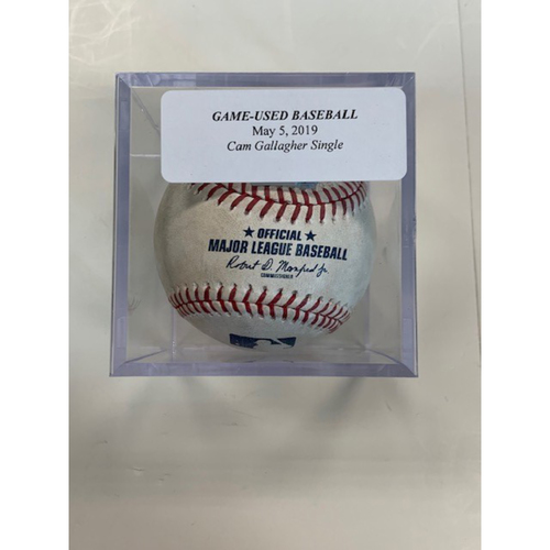 Photo of Game-Used Baseball: Cam Gallagher Reaches on Throwing Error
