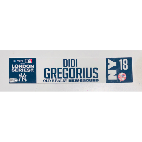 2019 London Series - Game Used Locker Tag - Didi Gregorius, New York Yankees vs Boston Red Sox - 6/30/2019