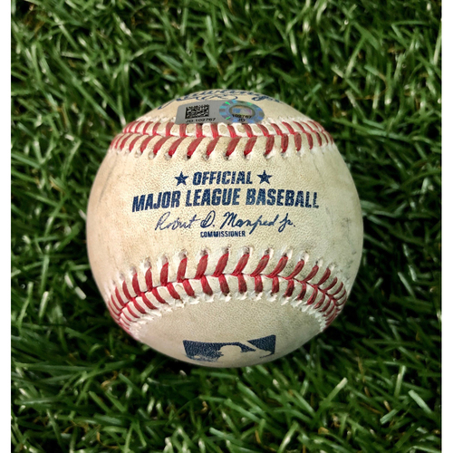 Photo of Game Used Baseball: Jesus Aguilar walk & Brian Anderson double off Blake Snell - September 5, 2020 v MIA
