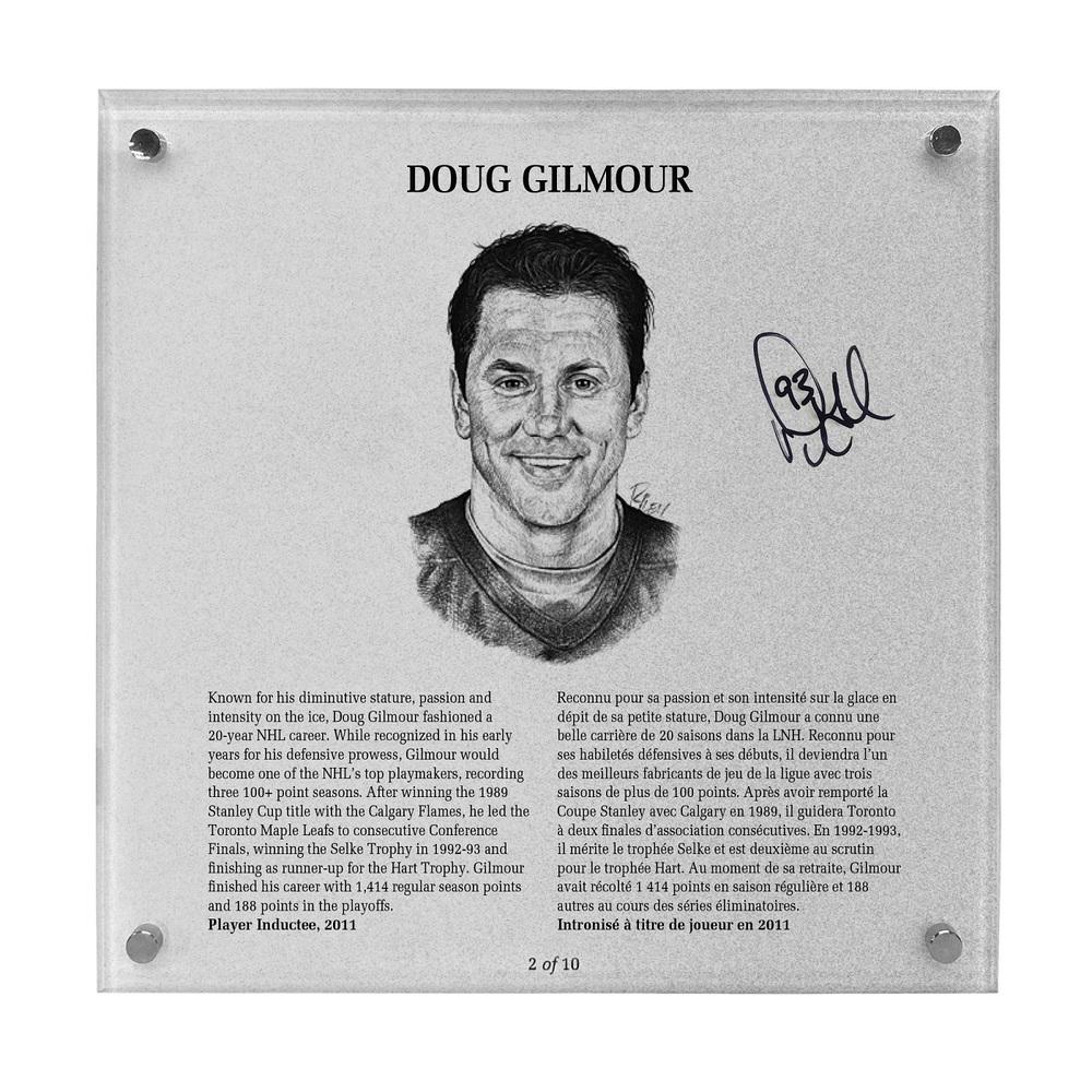 Doug Gilmour Autographed Legends Line Honoured Member Plaque - Limited Edition 2/10