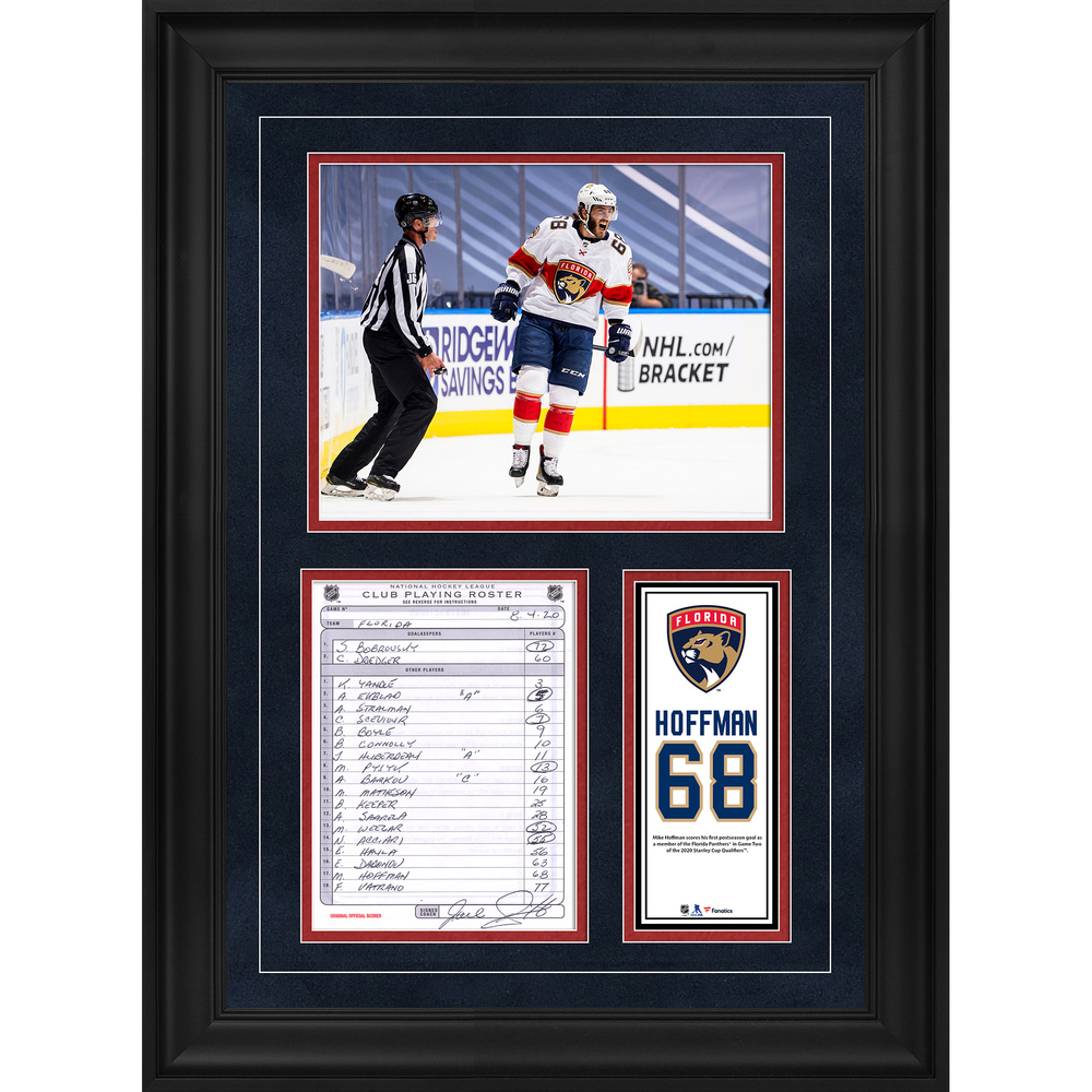 Mike Hoffman Florida Panthers Framed Original Line-Up Card from August 4, 2020 vs. New York Islanders - First Florida Panthers Postseason Goal