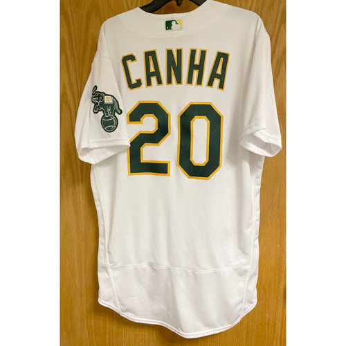 Photo of Mark Canha Game-Used Jersey; 2021 Opening Day 4/1/21