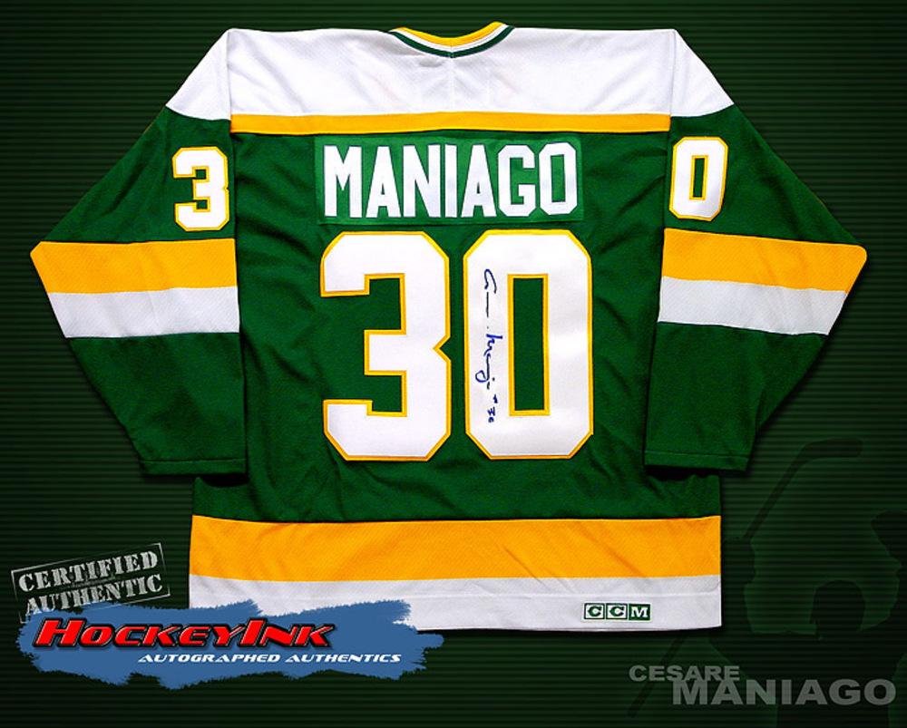 CESARE MANIAGO Signed Green Minnesota North Stars Jersey