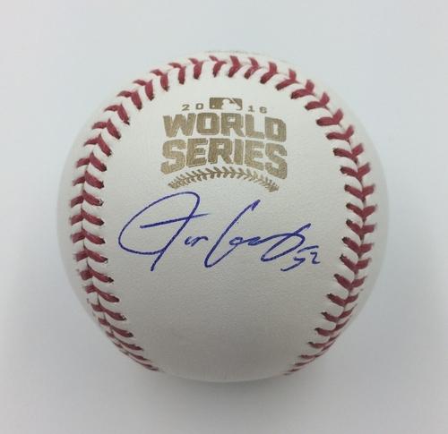 Photo of Justin Grimm Autographed 2016 World Series Logo Baseball