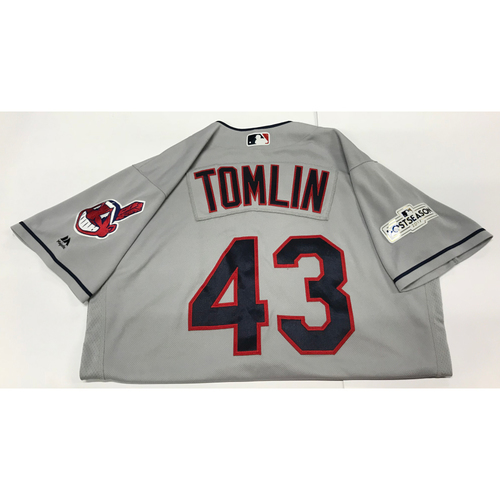 Photo of Josh Tomlin Team-Issued 2017 Postseason Road Jersey