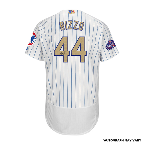 Photo of Anthony Rizzo Chicago Cubs Autographed Majestic White World Series Champions Gold Program Authentic Jersey