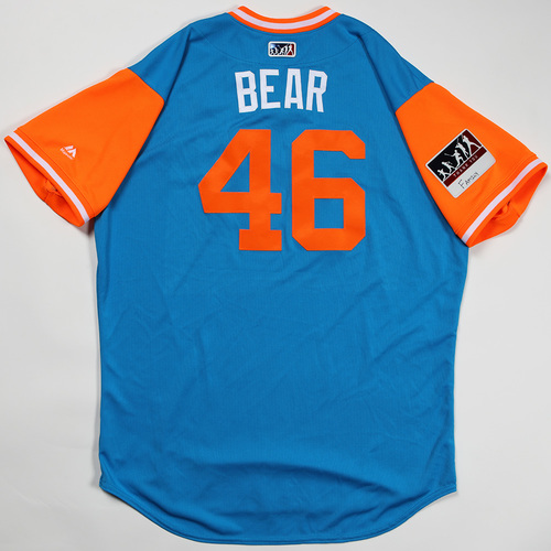 "Photo of Kyle ""Bear"" Barraclough Miami Marlins Game-Used Jersey 2018 Players' Weekend Jersey"