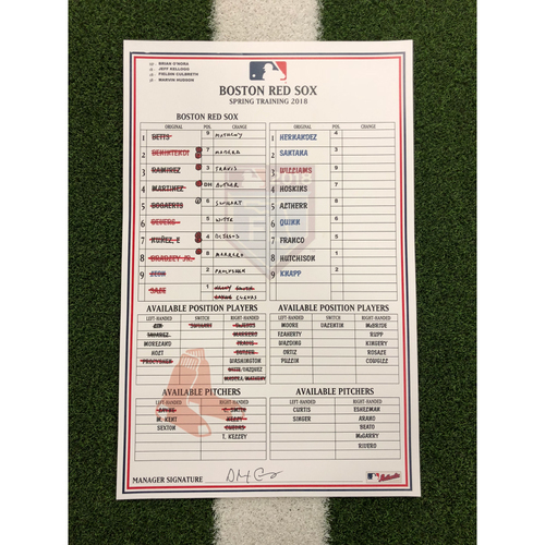 Photo of Red Sox Foundation - Spring Training Line-Up Card vs Philadelphia Phillies - 3-19-18 - Not MLB Authenticated