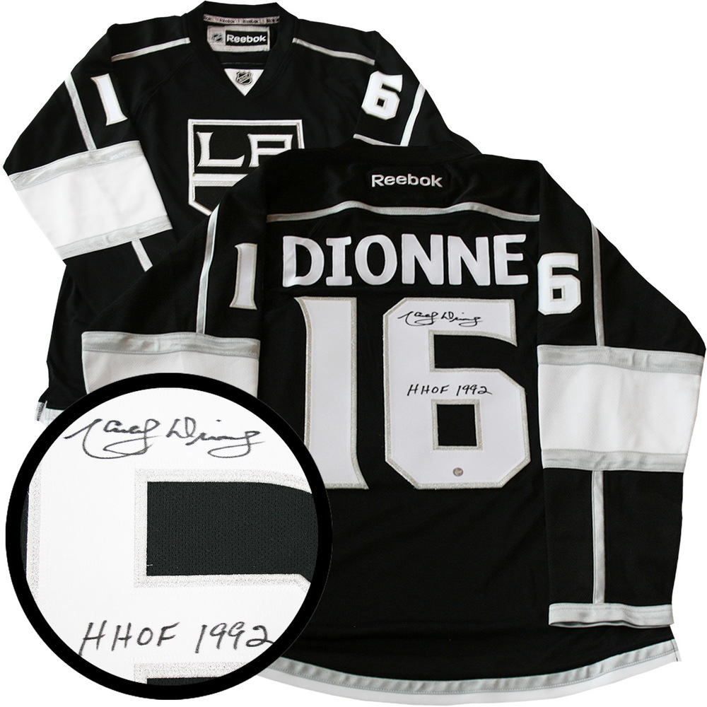 Marcel Dionne Signed Jersey Kings HHOF 1992 Inscr. Replica Black 2012 Reebok