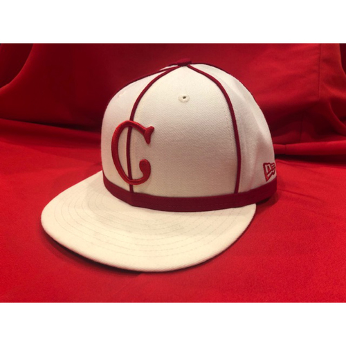 Photo of Tucker Barnhart -- 1902 Throwback Cap -- Game Used -- SF @ CIN on May 4, 2019