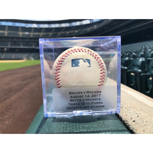 Photo of Game Used Baseball: Pitcher: Chad Bettis, Batter: Ender Inciarte (Triple)- 8-14-2017 vs. ATL