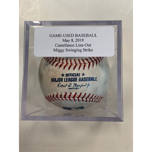 Game-Used Baseball: Nicholas Castellanos Line Out and Miguel Cabrera Swinging Strike