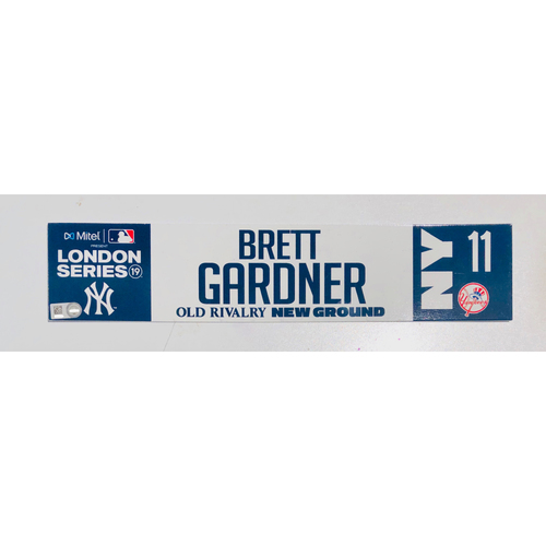 Photo of 2019 London Series - Game Used Locker Tag - Brett Gardner, New York Yankees vs Boston Red Sox - 6/30/2019
