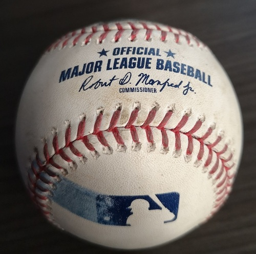Photo of Authenticated Game Used Baseball: Ground out to SS by Brandon Drury against Justin Verlander (Sep 1, 19 vs HOU). Bottom 9. Justin Verlander's 3rd Career No Hitter.