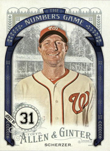 Photo of 2016 Topps Allen and Ginter The Numbers Game #NG13 Max Scherzer