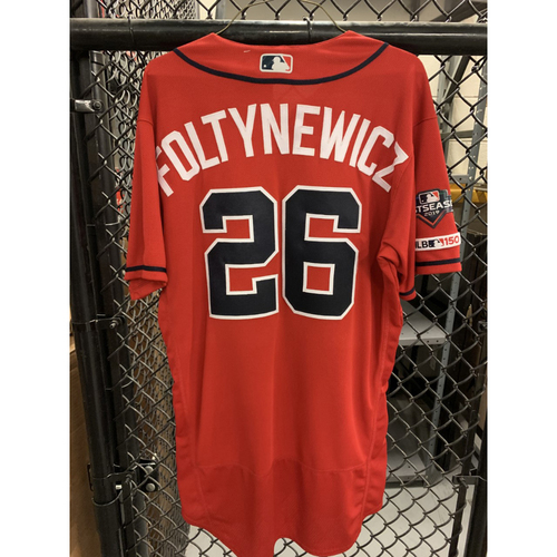 Photo of Mike Foltynewicz Game Used Playoff Jersey - Worn 10/4/19 - Winning Pitcher - Size 44