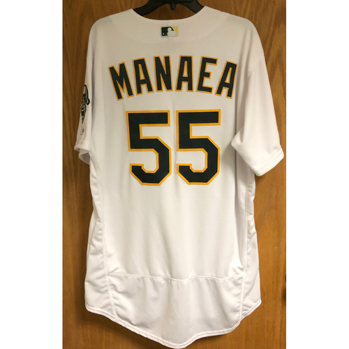 Photo of Game-Used 2019 Atleticos Jersey - Sean Manaea (Win #1, 10 SO)