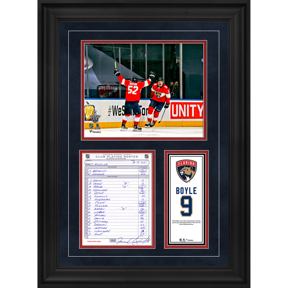 Brian Boyle Florida Panthers Framed Original Line-Up Card from August 5, 2020 vs. New York Islanders - Game Three Game-Winning Goal