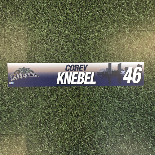Photo of Corey Knebel 2017 Game-Used Locker Nameplate