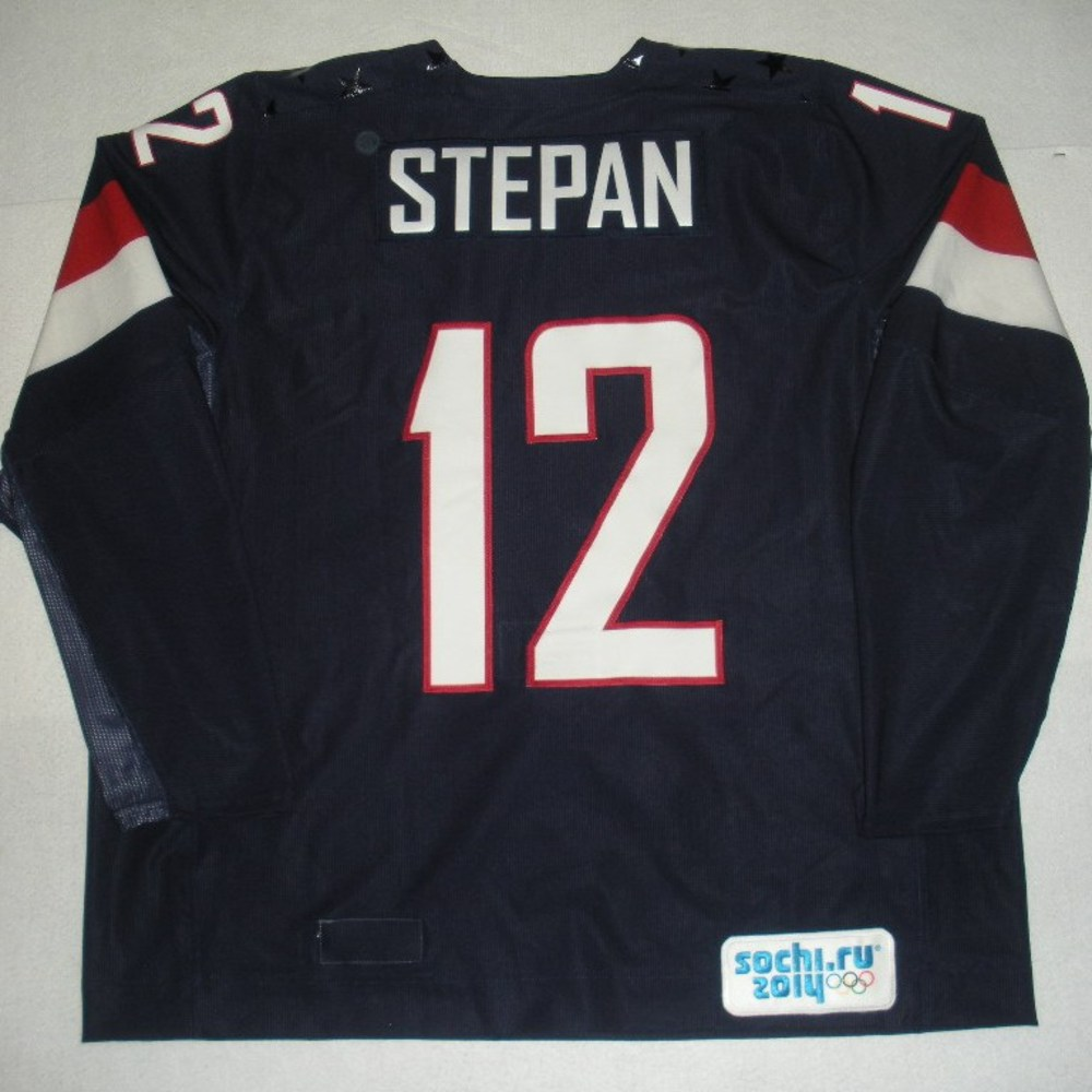 8c358fe08 Derek Stepan - Sochi 2014 - Winter Olympic Games - Team USA Blue  Game-Issued Jersey - 2nd Period, 3rd Period, Overtime and Shootout vs.  Russia, 2/15/14