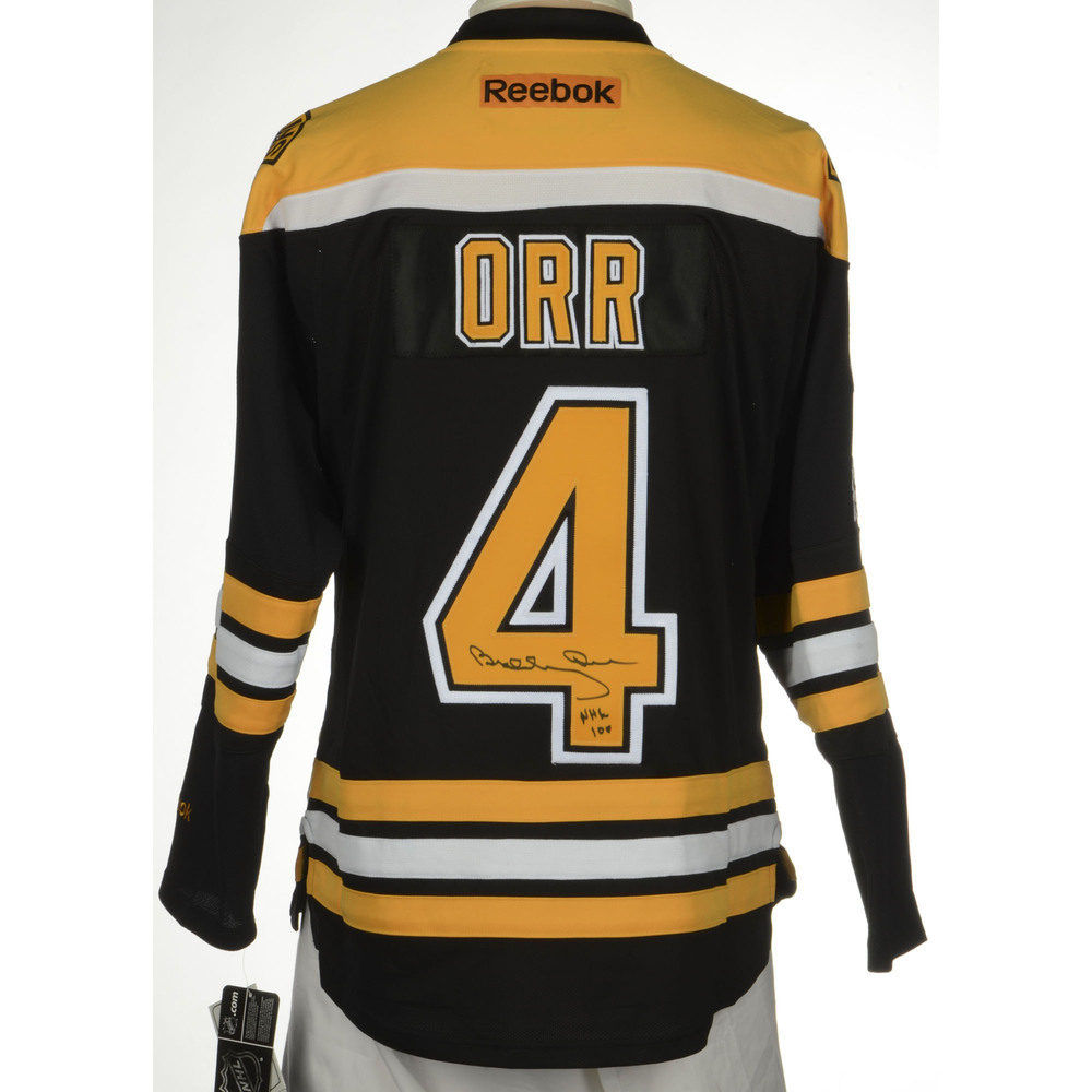 Bobby Orr Boston Bruins Autographed Reebok Premier Jersey with Centennial  Patch and NHL 100 Inscription. Auctioned by the National Hockey League  Foundation e348a454f