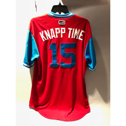 "Photo of Philadelphia Phillies 2018 Little League Classic Team-Issued Jersey - Andrew ""Knapp Time"" Knapp - 8/19/2018"